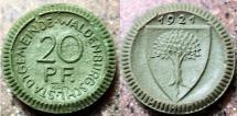World Coins - German green porcelain notgeld, Waldenburg, 20 pfennig