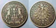 World Coins - very attractive German silver, 1875 Hamburg 5 Mark