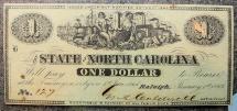 North Carolina Civil War Currency, 1863 $1, PMG 63