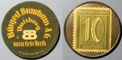 World Coins - German encased postage - 10 pfennig - Burgerl Brauhaus - Elberfeld