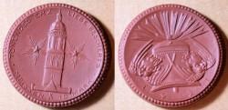 World Coins - German brown porcelain coin, Meissen, Glockenfond
