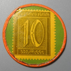 World Coins - German encased postage - 10 pfennig - Mark Eschmi, 32mm