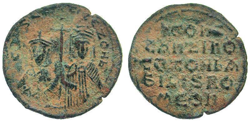 Ancient Coins - Byzantine, Constantine VII & Zoe, 913-959 AD, AE follis