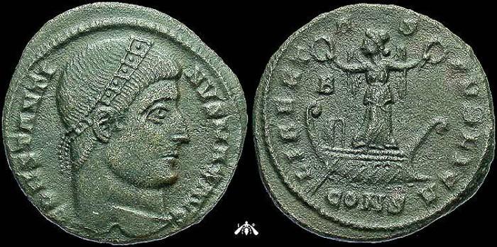 Ancient Coins - Constantine I, AE3 of Constantinople, Rare LIBERTAS PVBLICA Reverse, VF