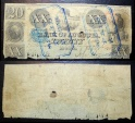 Obsolete currency, 1836 - Bank of Augusta 20 dollars  - blue stamps