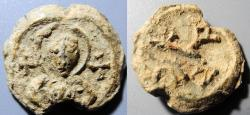 Ancient Coins - Byzantine lead seal - Maurice Tiberius? - cruciform monogram