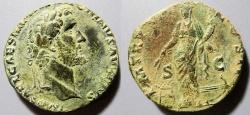 Ancient Coins - Antoninus Pius, 138-161 AD, AE sestertius - Annona / prow