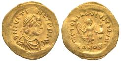 Ancient Coins - BYZANTINE. Gold. Justin II. 565-578. AV Tremissis, Constantinople mint.
