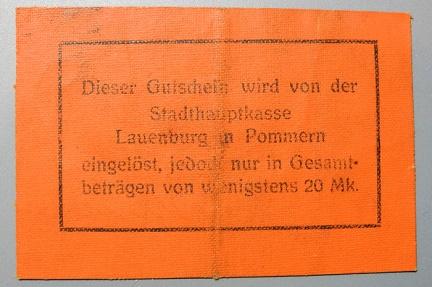 World Coins - German WWI linen notgeld - 1 Mark - Lauenburg in Pommern