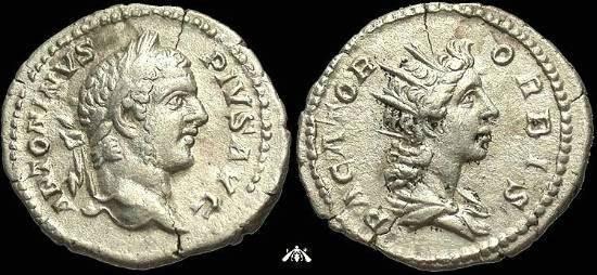 Ancient Coins - Caracalla AR Denarius - PACATOR ORBIS, Very Rare Radiate Head of Sol Reverse