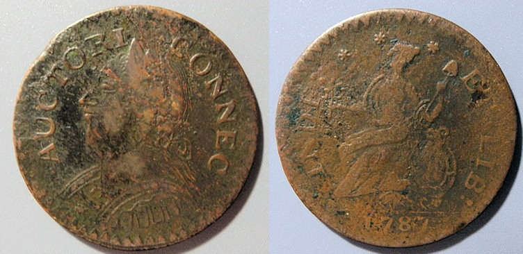 US Coins - US Colonial Coin - Connecticut Copper, 1787 Laughing Head