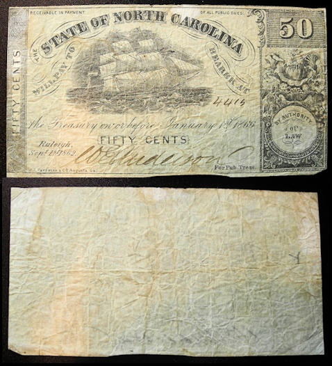 US Coins - Civil War Currency, State of North Carolina - Raleigh, Sept 1st, 1862 - 50 cents