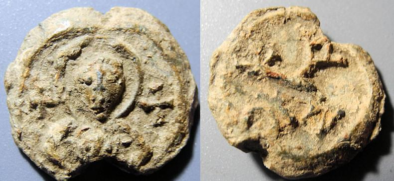 Ancient Coins - Byzantine lead seal - Maurice Tiberius? - cruciform monogram