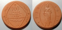 World Coins - German brown porcelain medal, gipsform, Obercunnersdorf - 700 years