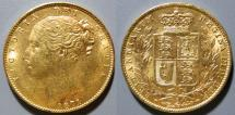 World Coins - Australia gold sovereign, 1876-M - St. George tangling with a dragon