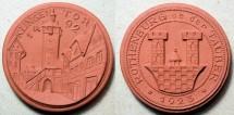 World Coins - German brown porcelain medal - Rothenburg o.d. Tauber, non-Meissen