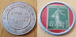 World Coins - French encased postage, Kirby Smith, 5 centimes -- scarce