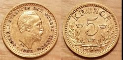 Ancient Coins - Sweden, Oscar II, 1882 EB gold 5 Kronor - nice!
