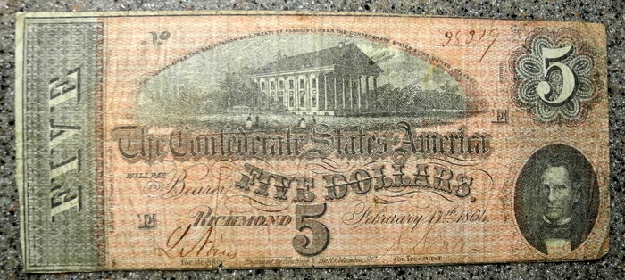 US Coins - USA - Confederate currency - five dollars - February 1864
