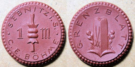 World Coins - German porcelain coin, Sebnitz, 1921 - 1 Mark