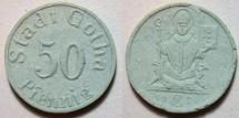World Coins - German blue grey German porcelain notgeld, Gotha 50 pfennig