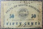 South Carolina Confederate Money - Bank of the State of South Carolina, 50 cents