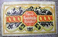 World Coins - German emergency money printed on silk, 1000 Mark
