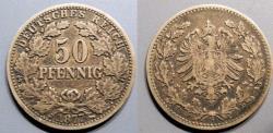 World Coins - Germany, silver 50 pfennig, 1877-G, KM #8