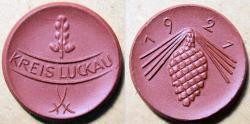 World Coins - German brown porcelain coin - Kreis Luckau - 1921