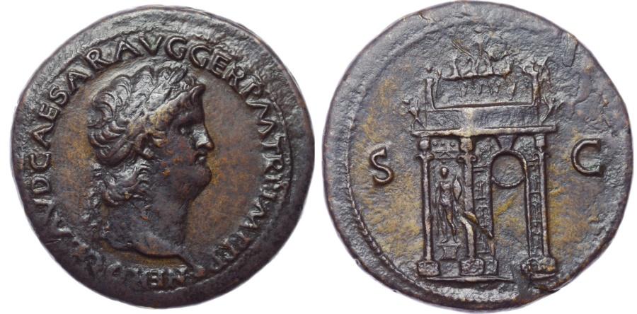 Ancient Coins - Nero. AD 54-68. Æ Sestertius (36mm, 27.55 g, 7h). Lugdunum (Lyon) mint. Struck circa AD 65.