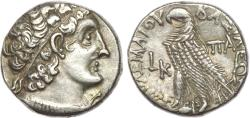 Ancient Coins - PTOLEMAIC EGYPT. Cleopatra III and Ptolemy IX (116/5-107 BC). AR tetradrachm, RY 20.
