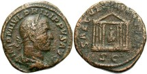 Ancient Coins - Imperial Rome. PHILIP I. 244-249 AD. Æ Sestertius (22.57 gm). Struck 248 AD. Temple Reverse.