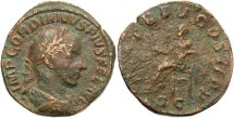 Ancient Coins - Imperial Rome. Gordian III AE Sestertius. Apollo.