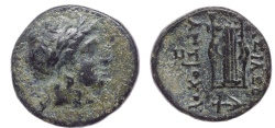 Ancient Coins -  SELEUKID KINGS of SYRIA. Antiochos II Theos. 261-246 BC. Æ 15mm (1.77 g, 12h). Sardis mint. Laureate head of Apollo right.