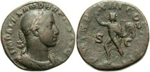Ancient Coins - Imperial Rome. Severus Alexander, 222-235 A.D. AE Sestertius (18.69 gm, 28 mm). Sol Reverse.