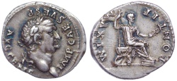 Ancient Coins - Vespasian. AD 69-79. AR Denarius (20mm, 3.21 g, 12h). Rome mint. Struck 73 AD. Magnificently toned.