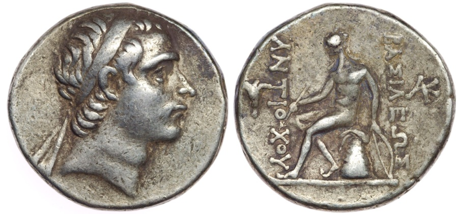 "Ancient Coins - SELEUKID EMPIRE. Antiochos III 'the Great'. 222-187 BC. AR Tetradrachm (29mm, 17.07 g, 1h). ""Rose"" mint."