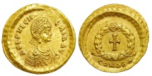 Aelia Pulcheria. Augusta, AD 414-453. AV Tremissis (14mm, 1.48 g, 12h). Constantinople mint. Very Rare. Lustrous!