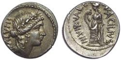 Ancient Coins - Man. Acilius Glabrio. 49 BC. AR Denarius (19mm, 3.97 g, 10h). Rome mint. Pedigreed.