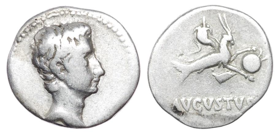 Ancient Coins - Augustus. 27 BC-AD 14. AR Denarius (19mm, 3.67 g, 6h). Uncertain Spanish mint.