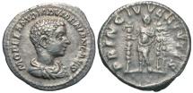 Ancient Coins - Imperial Rome. DIADUMENIAN, as Caesar. 218 AD. AR Denarius (20mm, 2.98 gm).