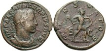 Ancient Coins - Imperial Rome. Severus Alexander. 222-235 A.D AE Sestertius (17.45 g, 32 mm).  Brown Patina.