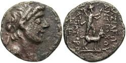 Ancient Coins - Syria, Seleucid Kings. Antiochos IX. 114-96 BC. AR Drachm (18mm, 3.71 gm). Tarsos mint. Sandan. Rare.