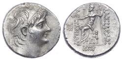 Ancient Coins - SELEUKID KINGS of SYRIA. Alexander II Zabinas. 128-122 BC. AR Tetradrachm (27mm, 16.28 g, 1h). Damaskos mint.