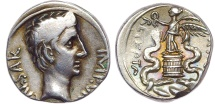 Ancient Coins - Octavian. 29-28 BC. AR Quinarius (14mm, 1.81 g, 3h). Superbly Toned and Lustrous.