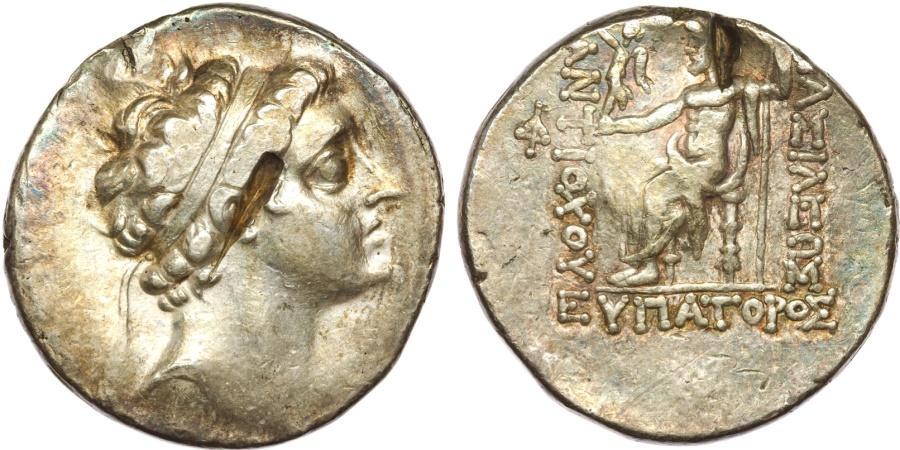 Ancient Coins - Syria, Seleucid Kings. Antiochos V AR Tetradrachm.