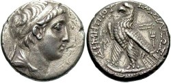 Ancient Coins - Seleucid Kings. Demetrios II First Reign. Tetradrachm (Silver, 13.69 g 12), Berytus. Rare!