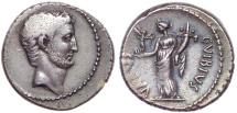 Mark Antony. 42 BC. AR Denarius (19mm, 3.88 g, 1h). C. Vibius Varus, moneyer. Magnificent Portrait.