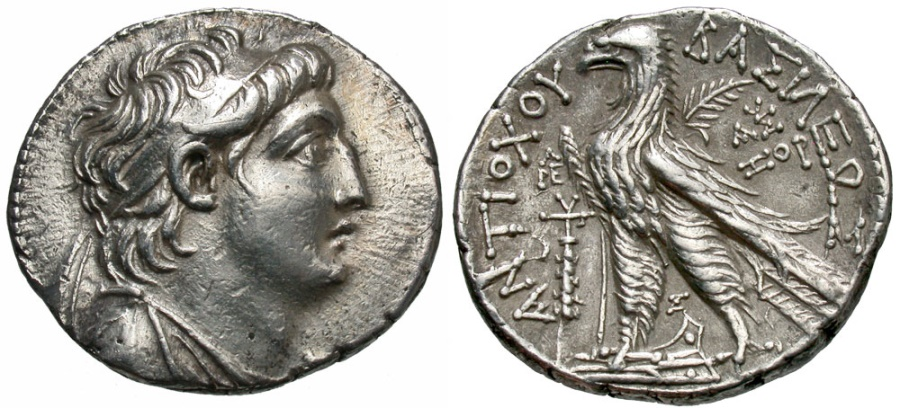 Ancient Coins - SELEUKID KINGS of SYRIA. Antiochos VII Euergetes (Sidetes). 138-129 BC. AR Tetradrachm (28mm, 13.99 g, 12h). Tyre mint.