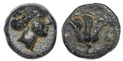 Ancient Coins - ISLANDS off CARIA, Rhodos. Rhodes. Circa 350-300 BC. Æ 12mm (1.25 g, 11h).
